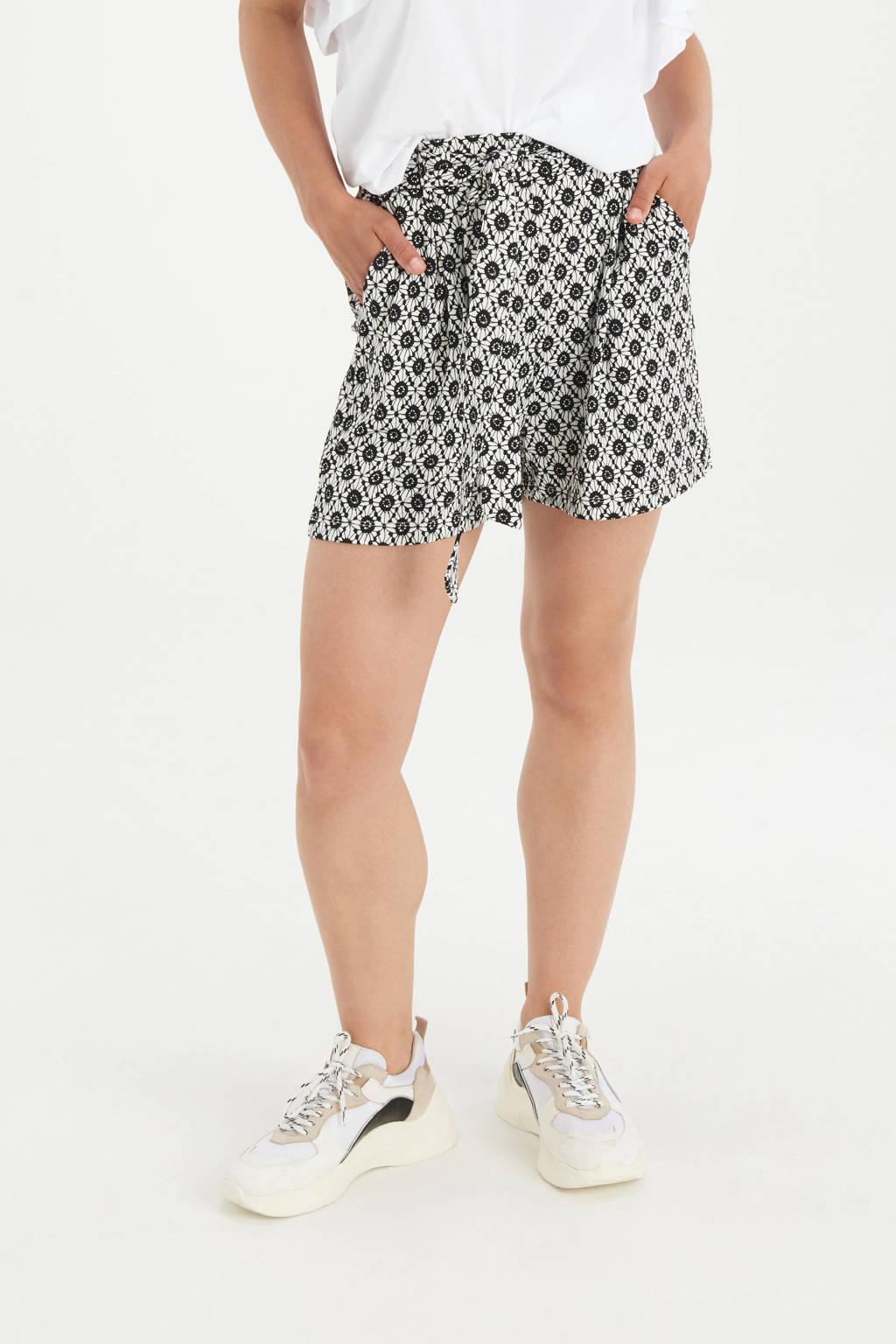 Shoeby Eksept straight fit korte broek Lise met all over print zwart/wit, Zwart/wit