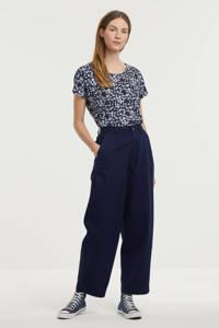 Fransa gebloemd T-shirt donkerblauw/lichtblauw/lichtroze