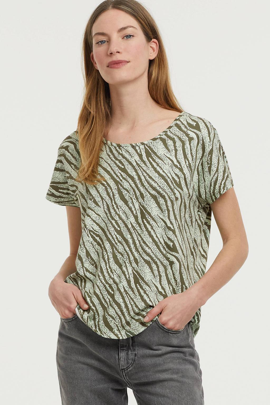 Fransa T-shirt met zebraprint mintgroen/olijfgroen, Mintgroen/olijfgroen