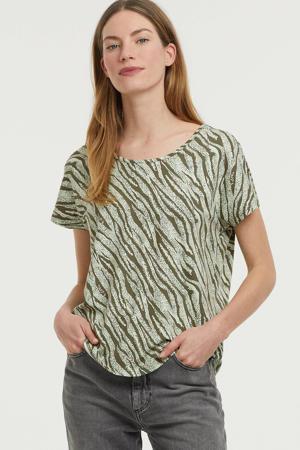 T-shirt met zebraprint mintgroen/olijfgroen