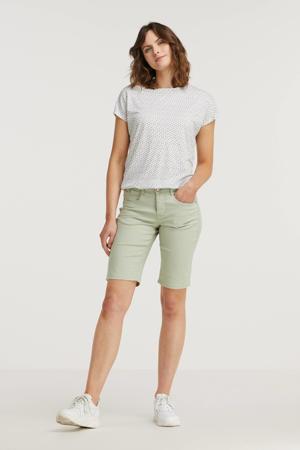 T-shirt met all over print wit/groen/paars