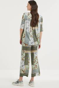 Fransa T-shirt met all over print en open detail groen/wit/donkerrood, Groen/wit/donkerrood