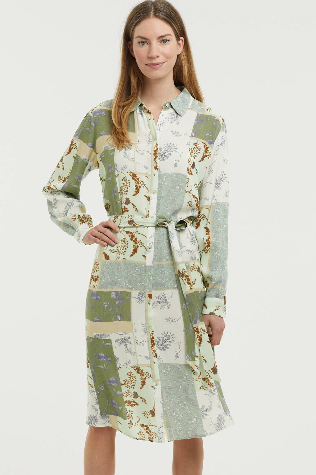 Fransa gebloemde blousejurk groen/wit/donkerrood, Groen/wit/donkerrood
