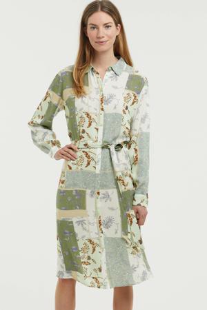 gebloemde blousejurk groen/wit/donkerrood