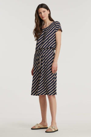 gestreepte jurk donkerblauw/wit/rood