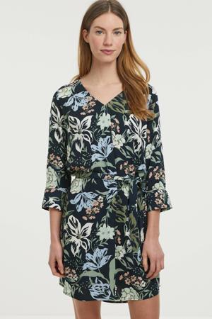 gebloemde jurk donkerblauw/olijfgroen/lichtblauw