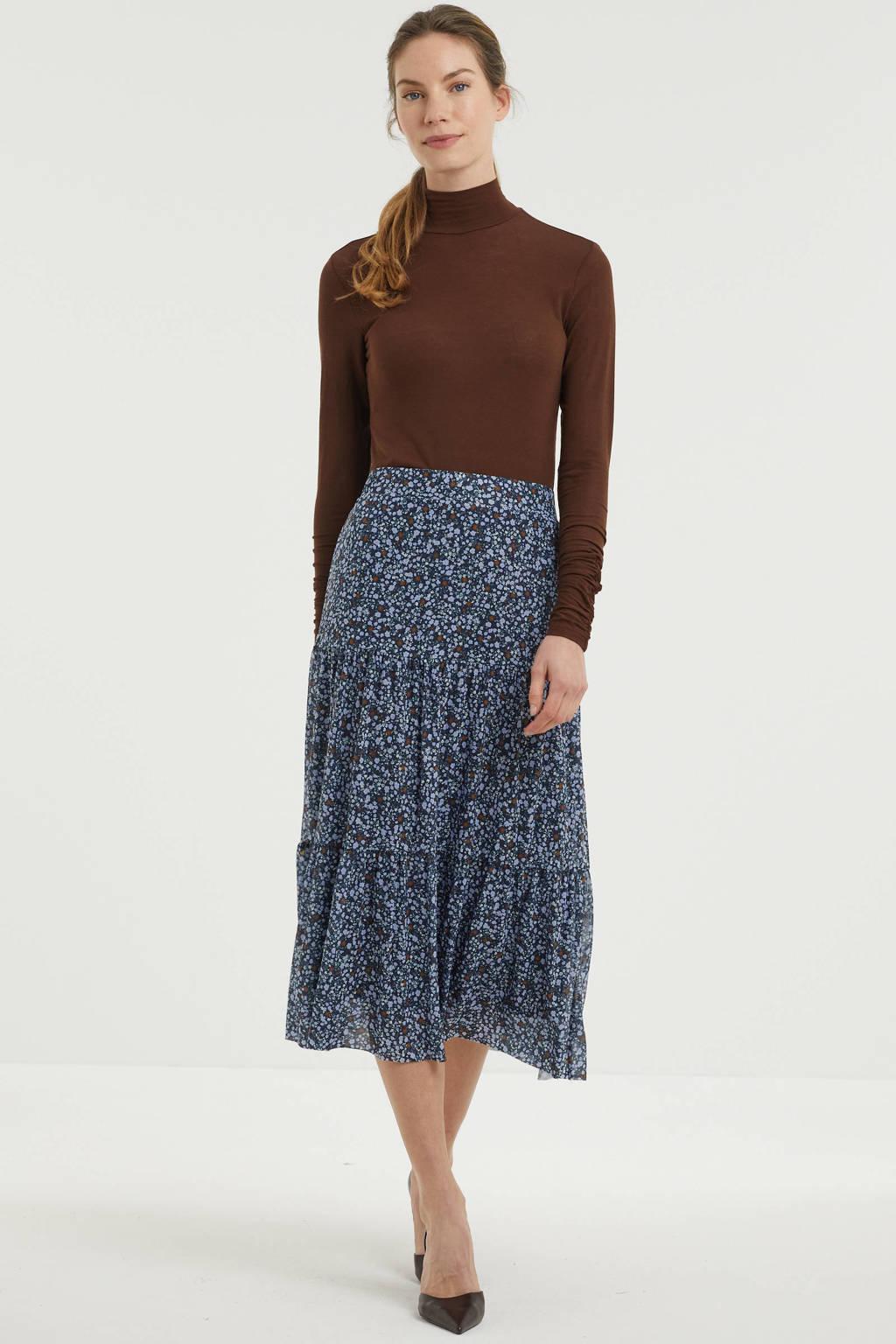 Fransa gebloemde semi-transparante rok donkerblauw/lichtblauw/donkerrood, Donkerblauw/lichtblauw/donkerrood