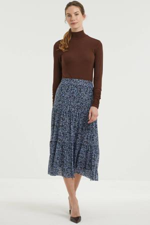 gebloemde semi-transparante rok donkerblauw/lichtblauw/donkerrood