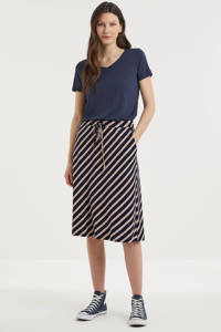 Fransa gestreepte rok donkerblauw/wit/rood, Donkerblauw/wit/rood