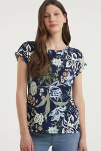 Fransa gebloemd T-shirt donkerblauw/olijfgroen/lichtblauw, Donkerblauw/olijfgroen/lichtblauw