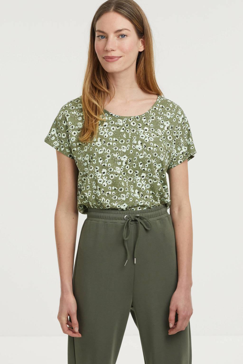 Fransa gebloemd T-shirt olijfgroen/lichtblauw/zwart, Olijfgroen/lichtblauw/zwart