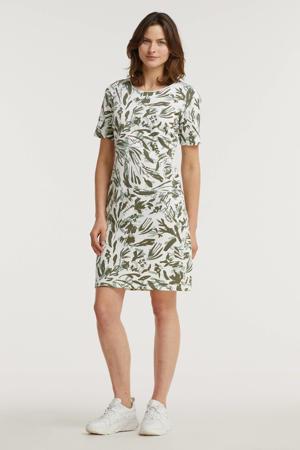 jurk met all over print wit/olijfgroen/mintgroen