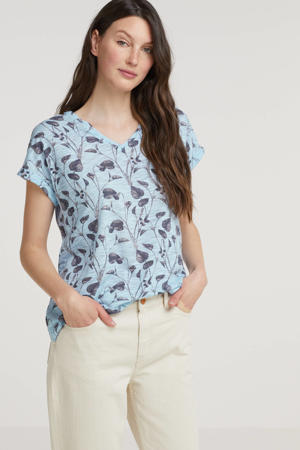 T-shirt met all over print blauw