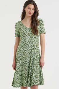 Fransa A-lijn jurk met zebraprint en plooien donkergroen/mintgroen, Donkergroen/mintgroen