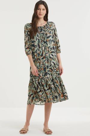 maxi jurk van gerecycled polyester mintgroen/donkergroen/oranje