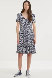 Fransa A-lijn jurk met zebraprint en plooien donkerblauw/wit, Donkerblauw/wit