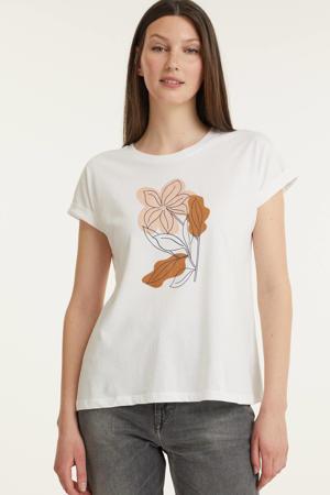 T-shirt van biologisch katoen wit/roze