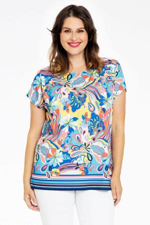 T-shirt met all over print blauw/geel/oudroze