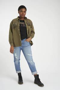 MS Mode jasje met franjes en studs kaki, Kaki
