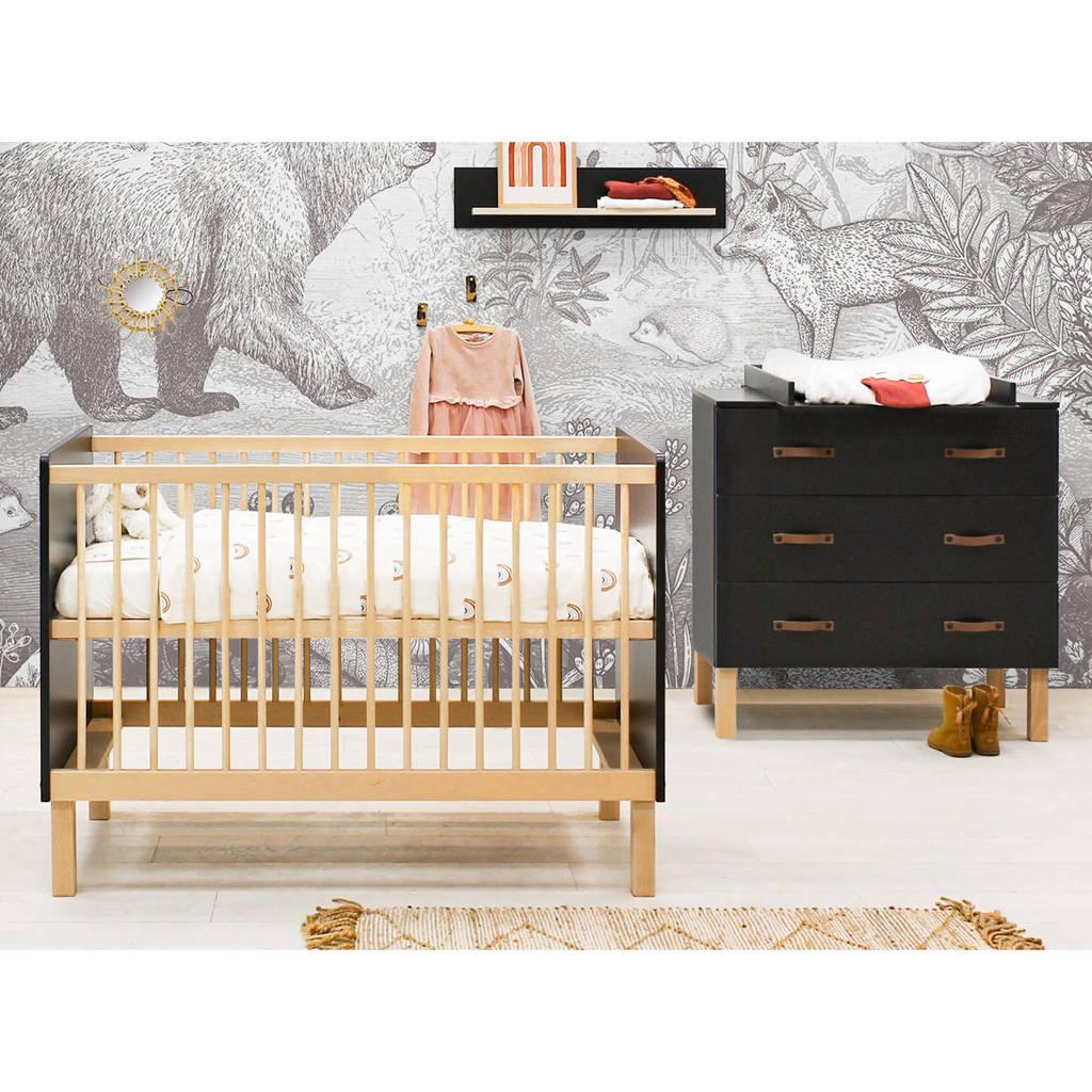 Bopita 2-delige babykamer Floris mat zwart/naturel Floris
