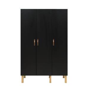 3-deurskast Floris Mat Zwart/Naturel