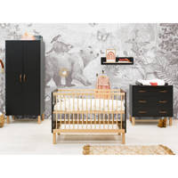 Bopita 3-delige babykamer Floris mat zwart/naturel Floris