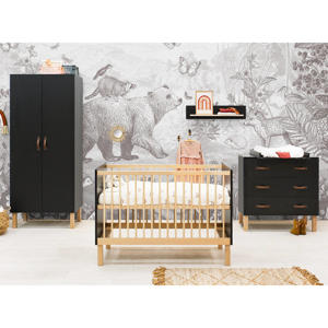 3-delige babykamer Floris mat zwart/naturel Floris