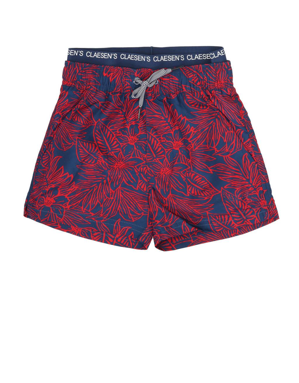 Claesen's zwemshort met all over print donkerblauw/rood, Donkerblauw/rood
