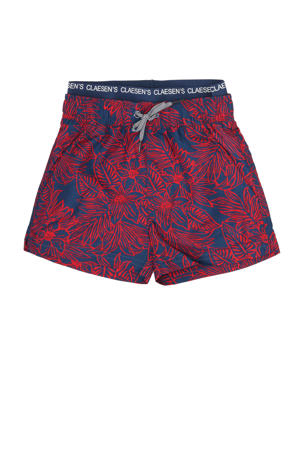 zwemshort met all over print donkerblauw/rood