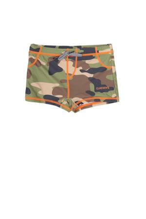 zwemboxer met camouflageprint groen/bruin/beige