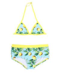 Claesen's triangel bikini met all over print lichtblauw/geel, Lichtblauw/geel/groen