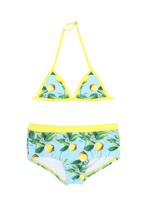 triangel bikini met all over print lichtblauw/geel