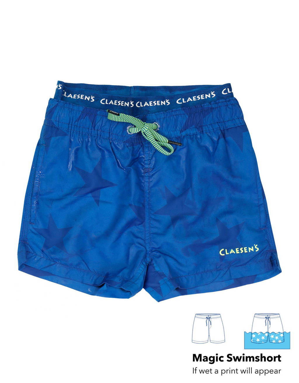Claesen's zwemshort met magic print blauw, Blauw