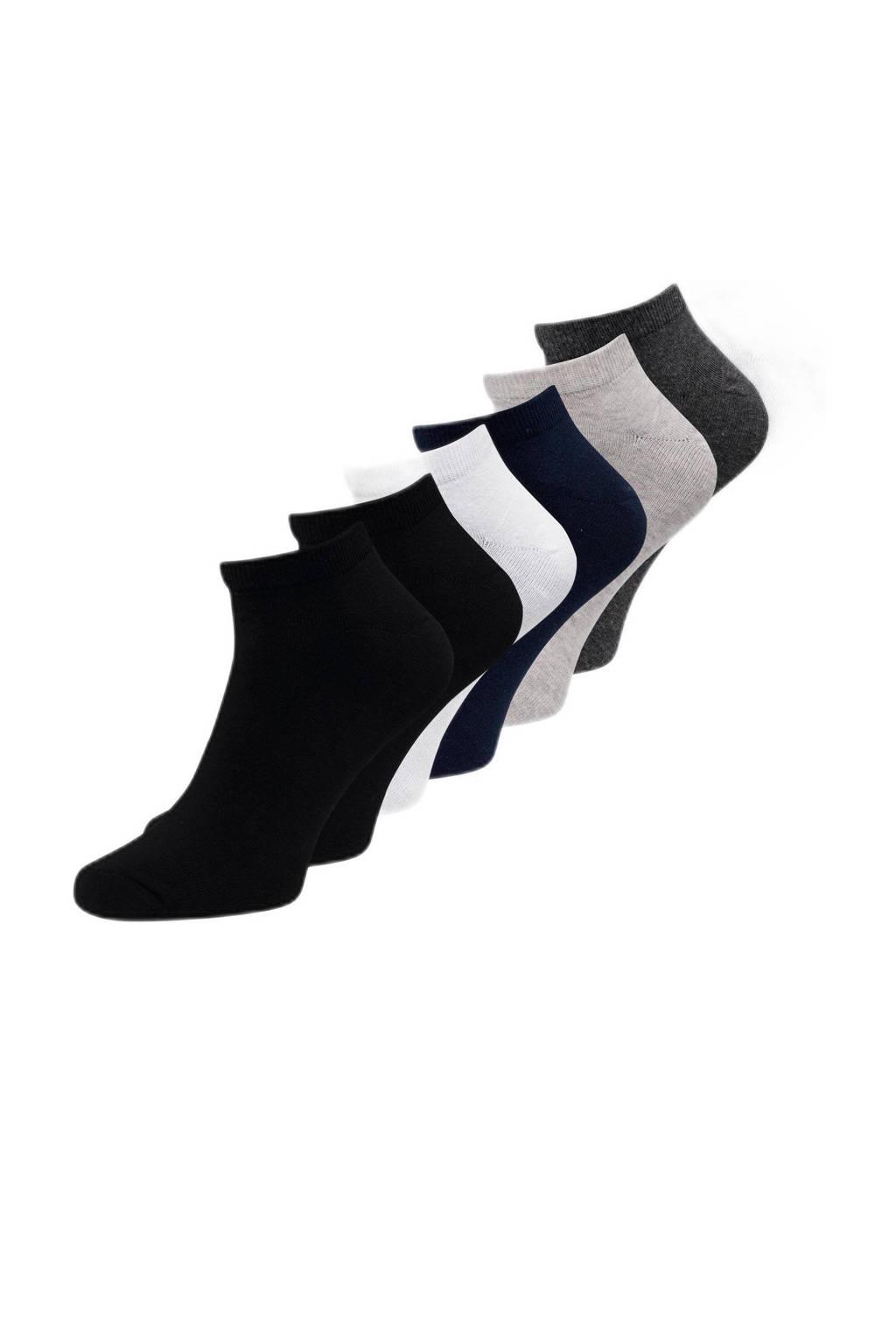 JACK & JONES enkelsokken - set van 7 zwart/grijs/wit, Zwart/grijs/wit