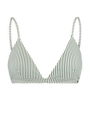 gestreepte triangel bikinitop Audrey groen/wit