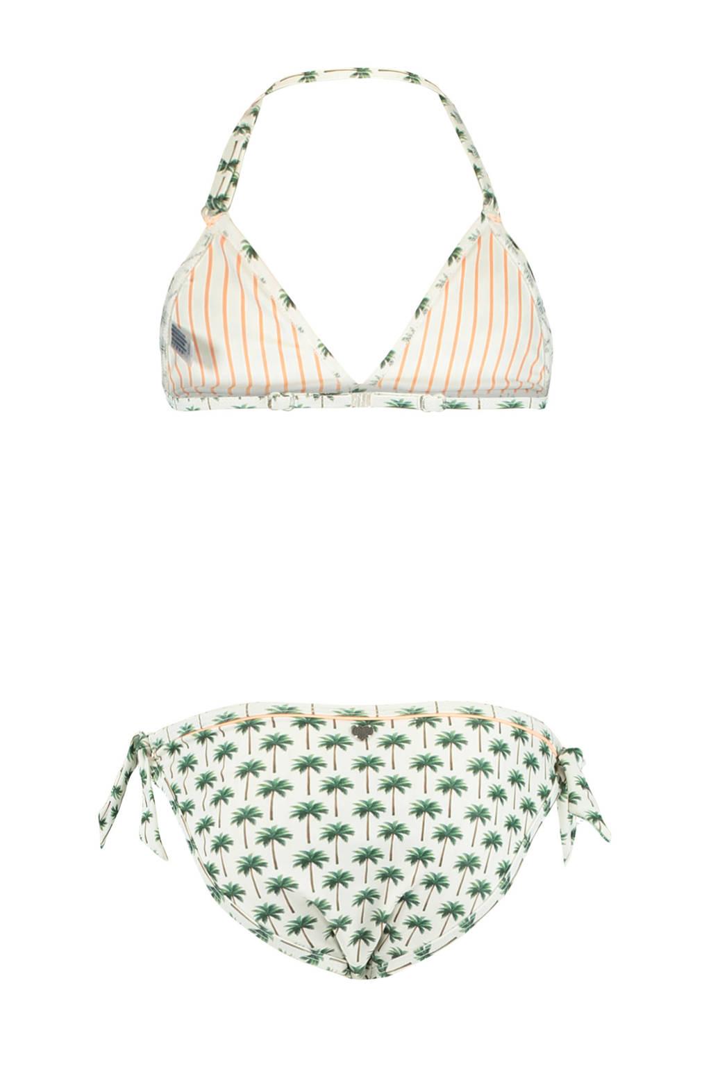 America Today Junior triangel bikini Luna met all over print wit/groen, Wit/groen