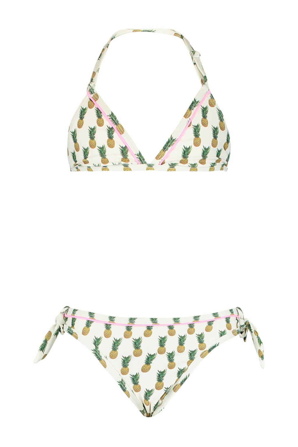 America Today triangel bikini Luna met all over print wit/geel, Wit/geel