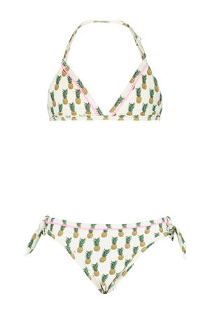triangel bikini Luna met all over print wit/geel