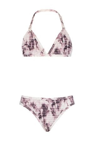 gesmockte triangel bikini Luna met all over print wit/lila