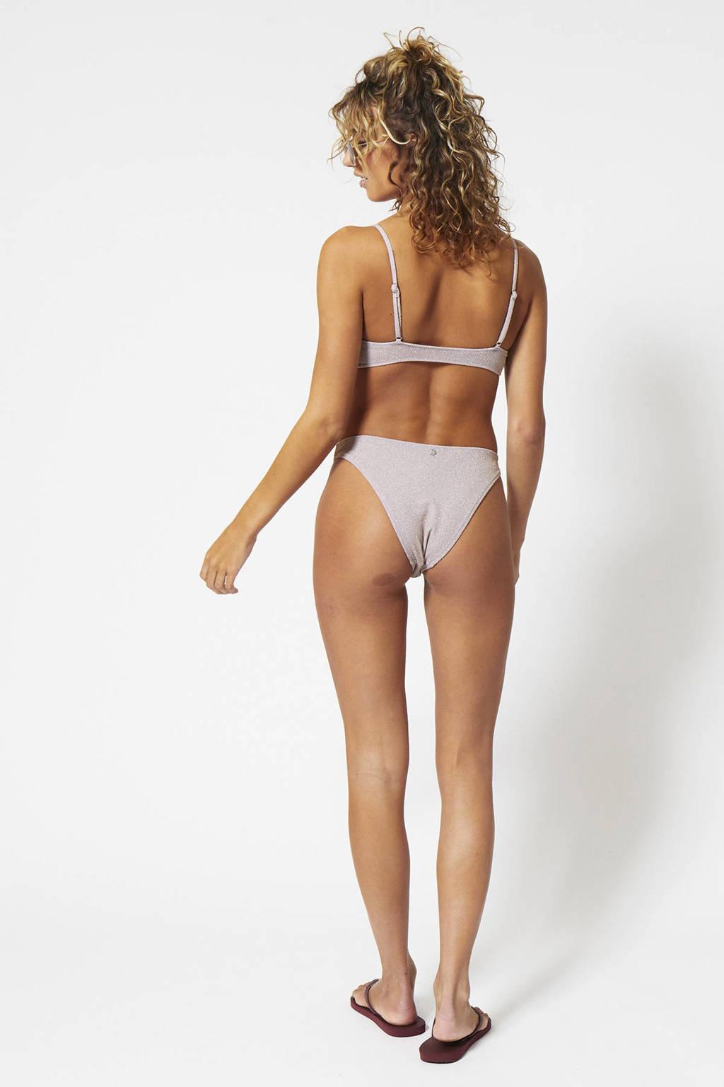 America Today bikinitop Apua met ribstructuur oudroze, Oudroze