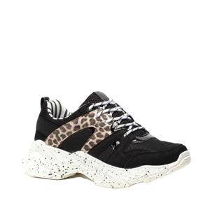 chunky sneakers met panterprint zwart