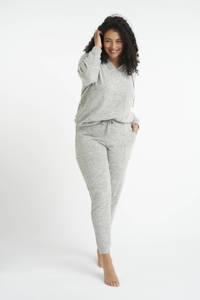 MS Mode gemêleerde slim fit joggingbroek grijsgroen, Grijsgroen