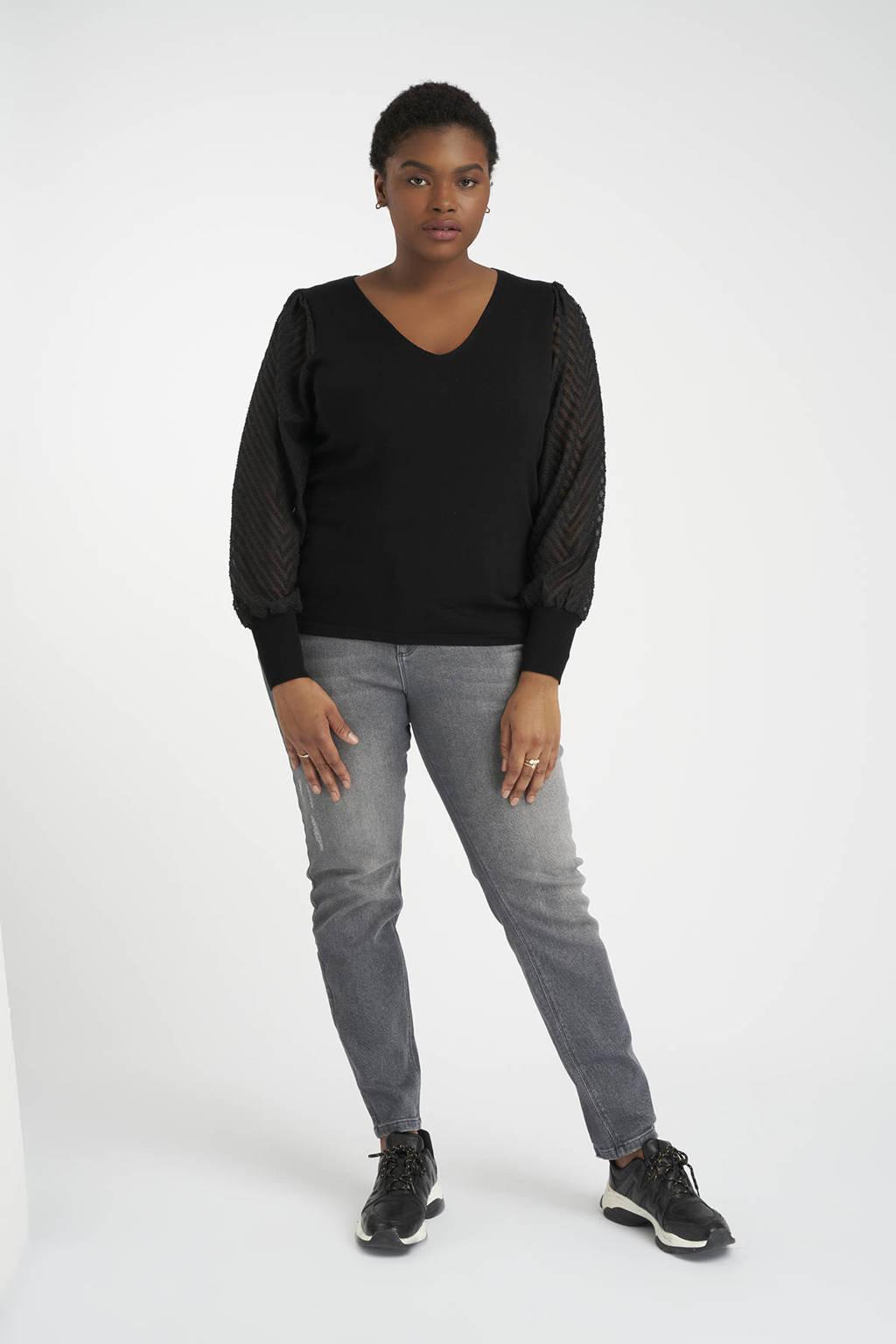 MS Mode semi-transparante trui met textuur zwart, Zwart