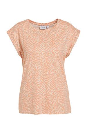 T-shirt Fadelia met zebraprint zalm