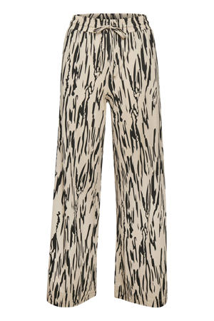 high waist palazzo broek Fro met all over print ecru