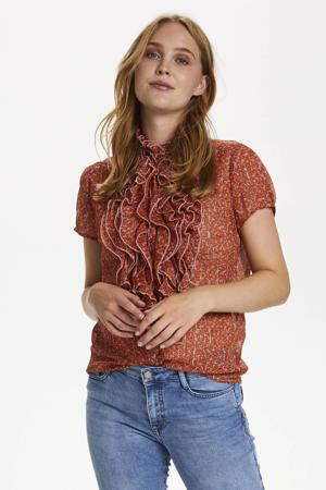 blouse Xelina Lilly met all over print en ruches oranje