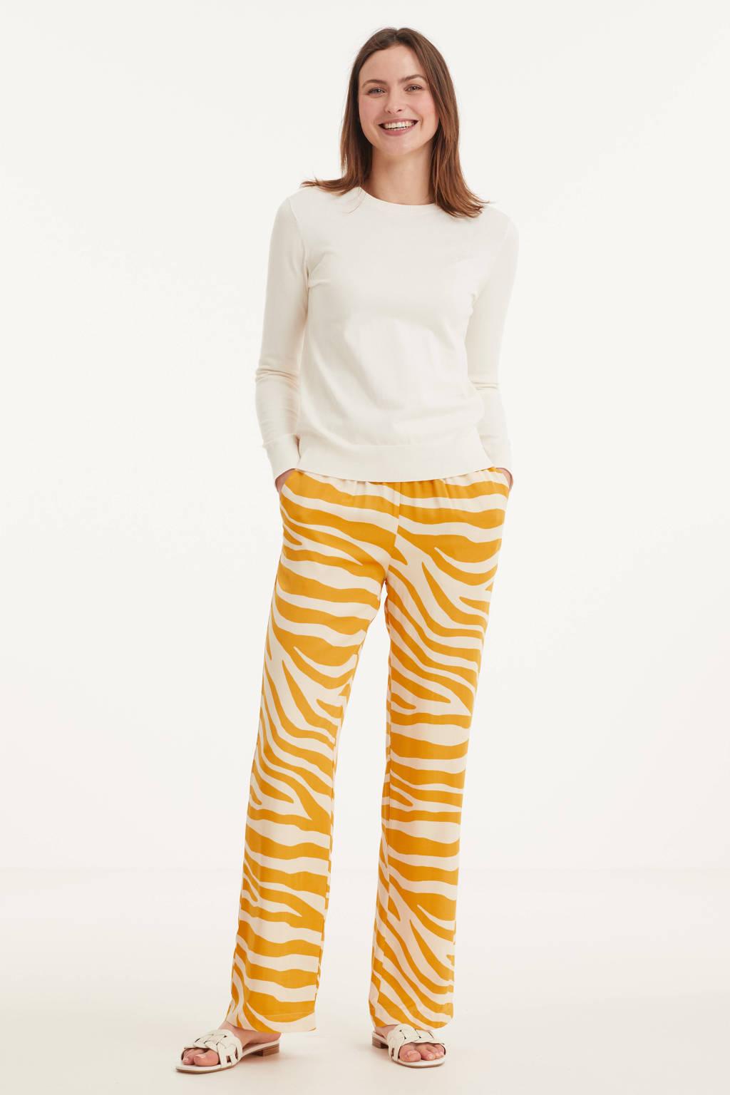 Saint Tropez loose fit broek Fabiana met zebraprint geel, Geel