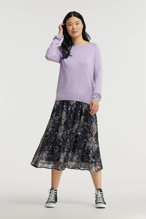 rok Florence met all over print donkerblauw