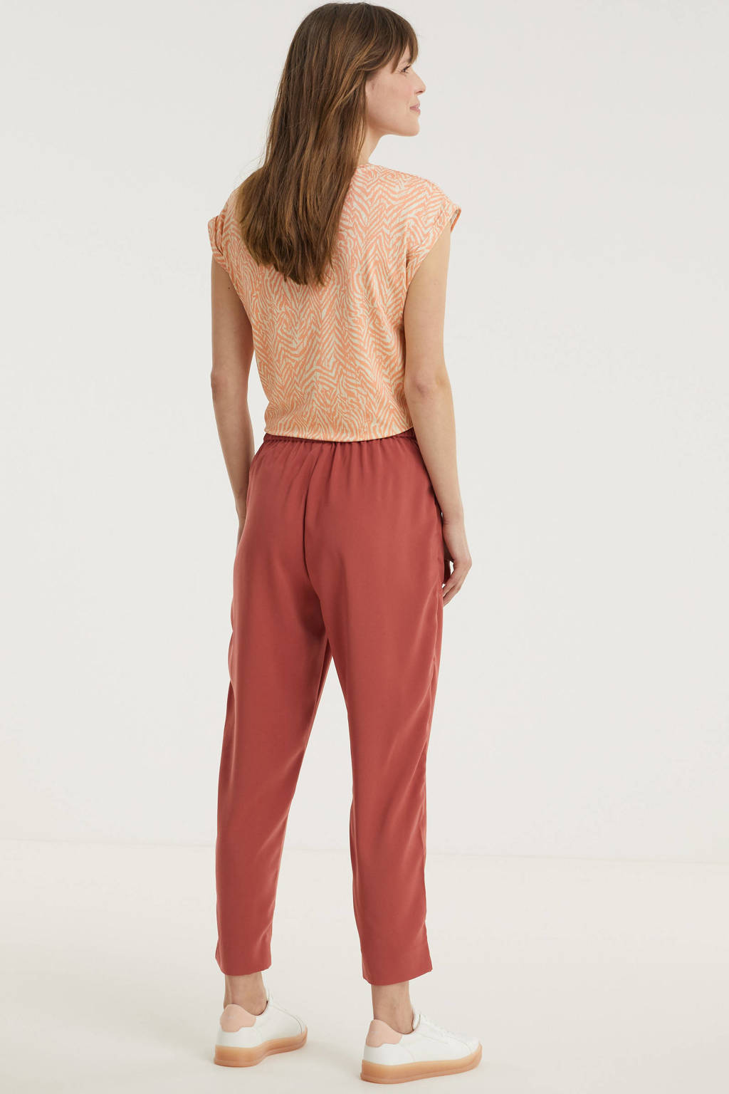 Saint Tropez cropped tapered fit broek Andrea donkerroze, Donkerroze
