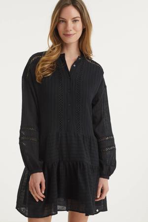 trapeze jurk Yessie met open detail zwart